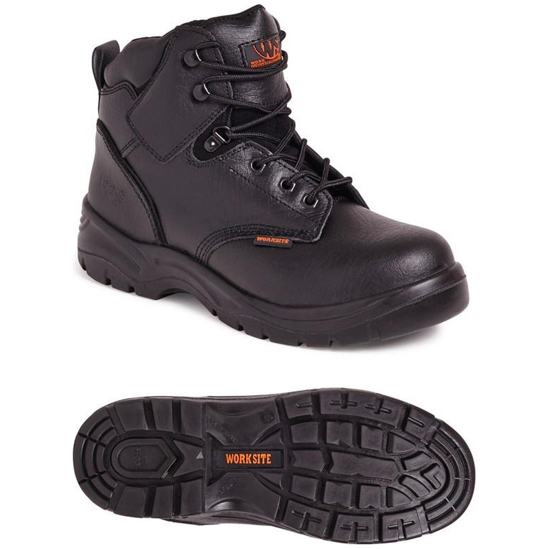 Worksite SS604SM Mid-Cut Safety Boot Black