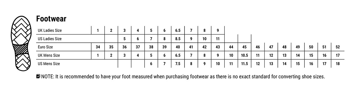 Portwest Footwear Size Guide