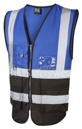 Royal blue / black two tone superior vest waistcoat