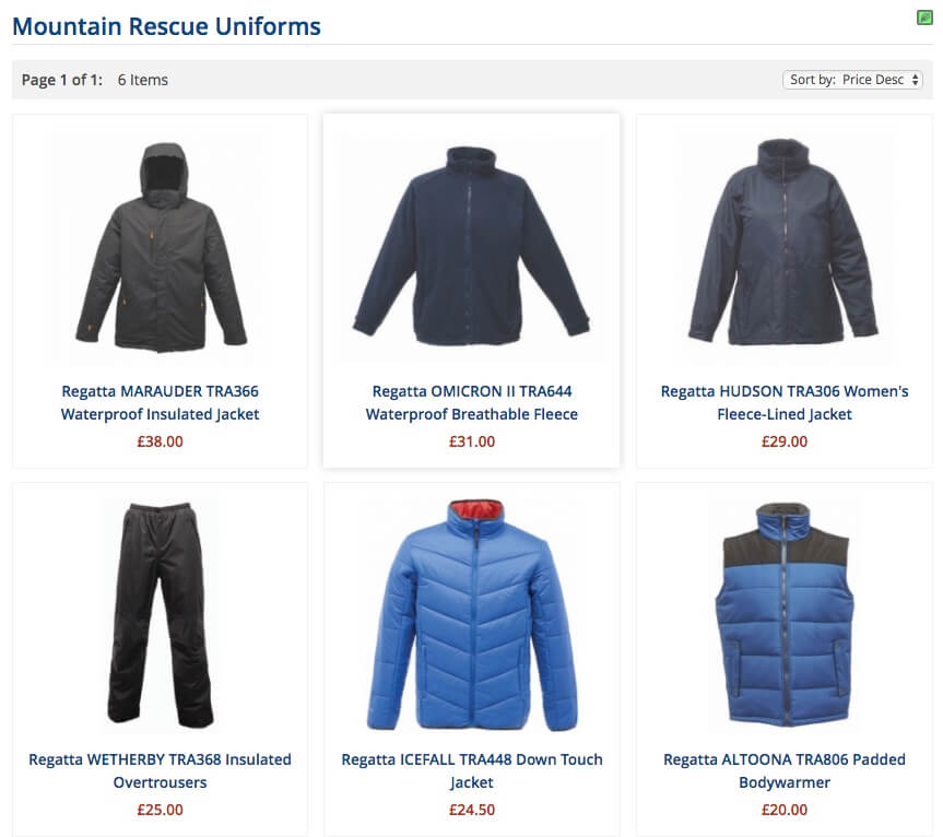 Mountain Rescue Clothing and Uniforms