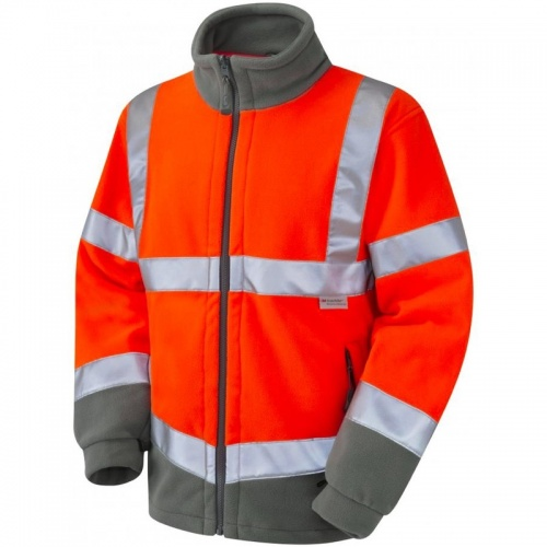 Leo Workwear F01-O Hi Vis two tone Fleece Jacket Orange / Graphite Grey