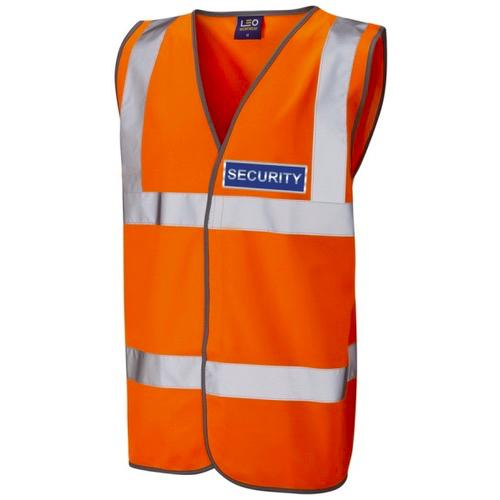 Security Blue Hi Vis Waistcoat Orange
