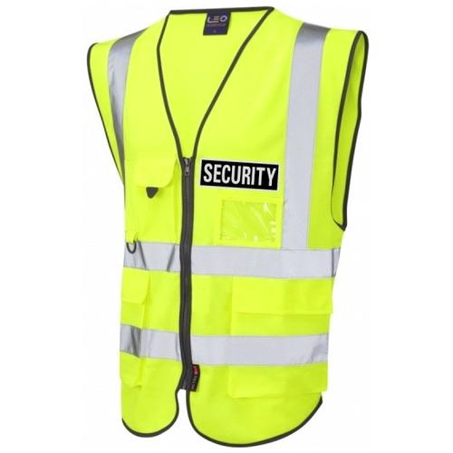 Hi Vis Superior Yellow Security Vest With Black Reflective Security Badges