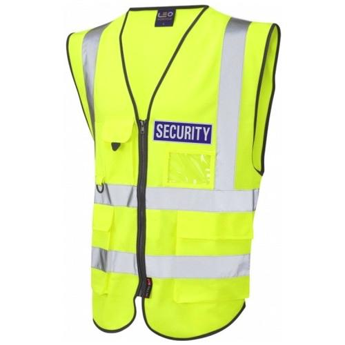 Hi Vis Superior Security Vest Yellow with Blue Reflective Security Badge
