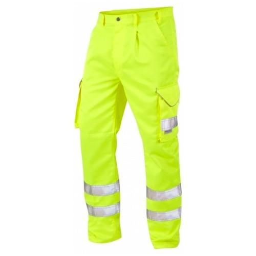 Leo Workwear CT01-Y Superior Cargo Yellow Hi Vis Trousers