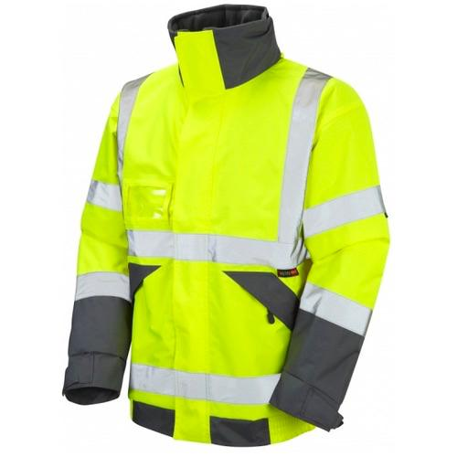 Leo Workwear J02-Y Bickington Hi Vis Superior Bomber Jacket with Fleece Lining Yellow