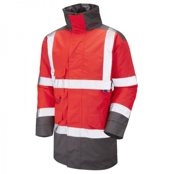 Leo Workwear A01-R/GY Tawstock Hi Vis Jacket Red / Grey