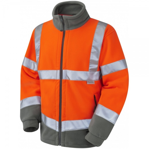 Leo Workwear F01-O Hartland Two Tone Hi Vis Fleece Jacket Orange / Graphite Grey