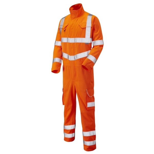 Leo Workwear CV01-O Molland Hi Vis Coverall ISO 20471 Class 3 Polyester Cotton Orange