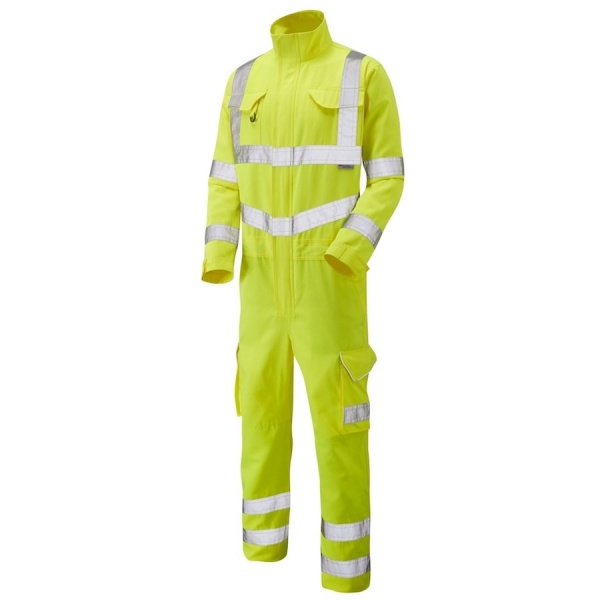 Leo Workwear CV01-Y Molland Hi Vis Coverall ISO 20471 Class 3 Polyester Cotton Yellow