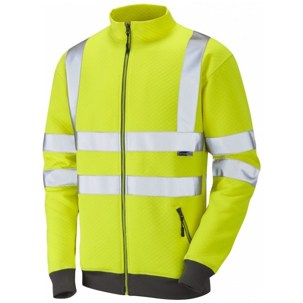 Leo Workwear Hi Vis Full Zip Track Top Sweatshirt SS03-O Libbaton Yellow ISO 20471 Class 3