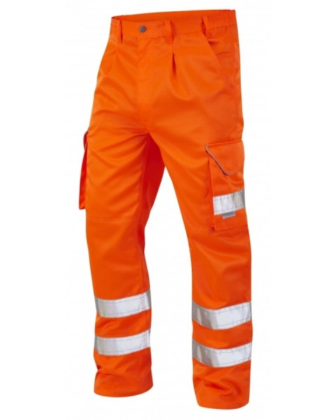 Leo Workwear CT01-O Bideford Hi Vis Superior Railway Cargo Trousers Orange