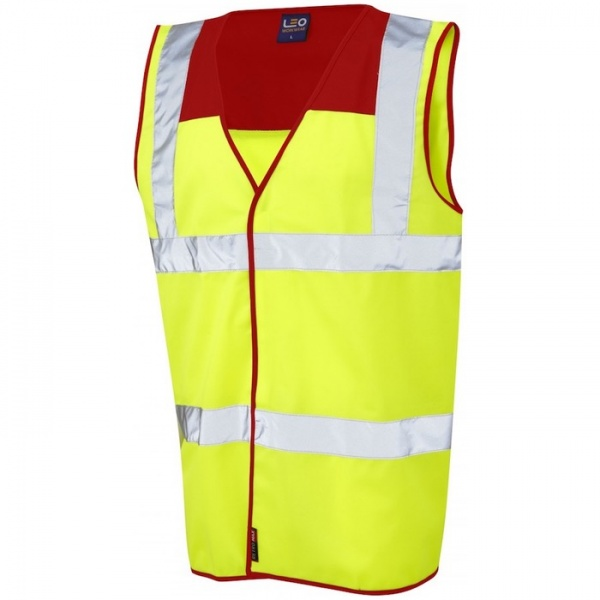 Leo Workwear W09-RD/Y Bradworthy Hi Vis Vest Yellow / Red Yoke ISO 20471 Class 2