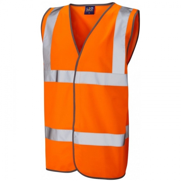 Leo Workwear W01-O Tarka Hi Vis Vest Orange ISO 20471 Class 2