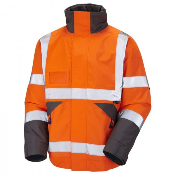 Leo Workwear J02-O Bickington Hi Vis Superior Bomber Jacket with Fleece Lining Orange