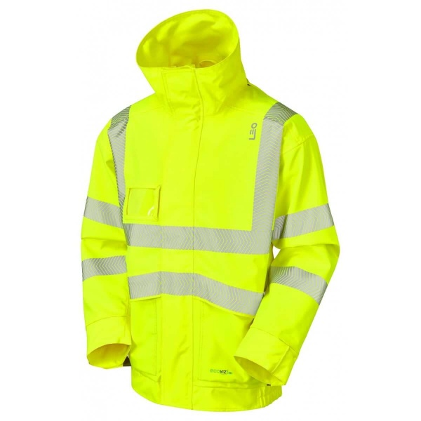 Leo Workwear J05-Y Dartmoor Breathable Hi Vis Bomber Jacket Ecoviz 10k Yellow