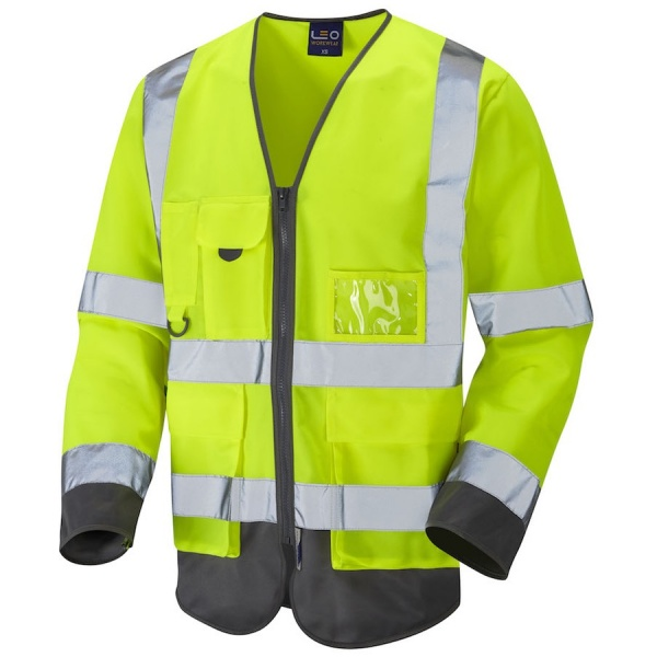 Leo Workwear S12-Y/GY Wrafton Hi Vis Class 3 Superior Sleeved Waistcoat Yellow / Grey