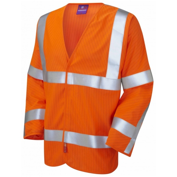 Leo Workwear S17-O Meshaw ISO 20471 Class 3 LFS Anti-Static Vest Orange