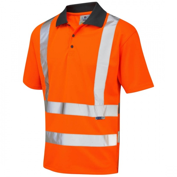 Leo Workwear P02-O Rockham EcoViz Coolviz Hi Vis Polo Shirt Orange