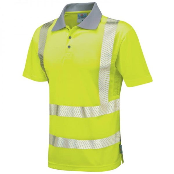 Leo Workwear P03-Y Wollacombe Coolviz Plus Hi Vis Polo Shirt Yellow
