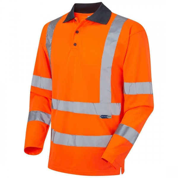 Leo Workwear P06-O Woolsery EcoViz Coolviz Hi Vis Polo Shirt Long Sleeve Orange