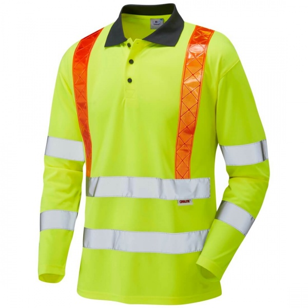 Leo Workwear P07-Y Bickleton Class 3 EcoViz Coolviz Sleeved Hi Vis Polo Shirt Yellow / Orange Braces