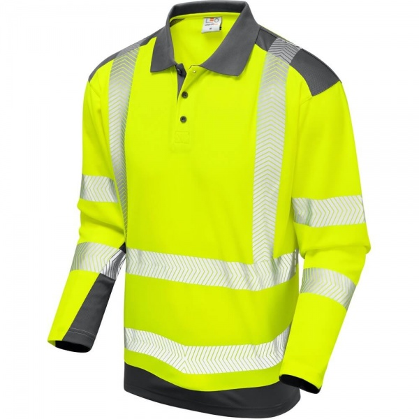 Leo Workwear P15-Y/GY Wringcliff Coolviz Plus Sleeved Polo Shirt Yellow / Grey