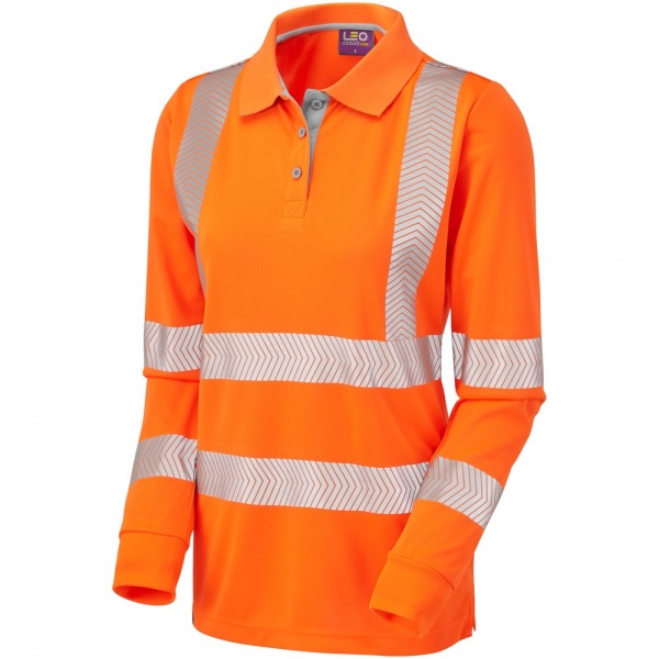 Leo Workwear PL08-O Pollyfield ISO 20471 Class 2 Coolviz Plus Ladies Sleeved Hi Vis  Polo Shirt Orange