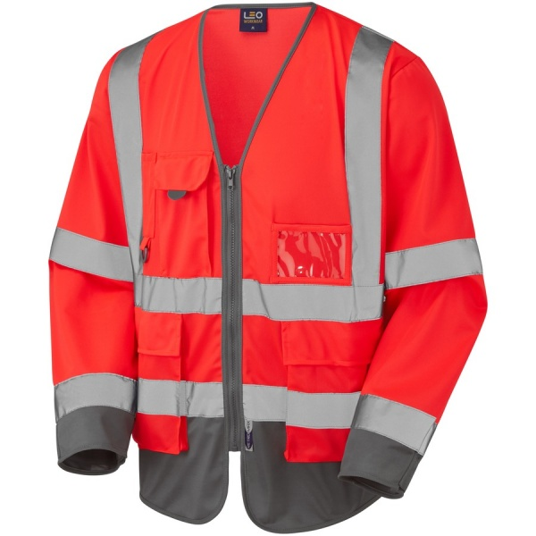 Leo Workwear S12-R/GY Wrafton Hi Vis Class 3 Superior Sleeved Vest Red / Grey