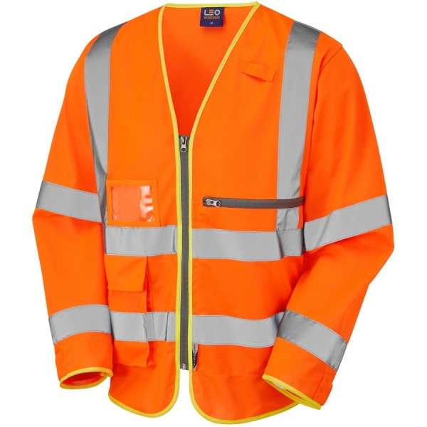 Leo Workwear S24-O Heddon ISO 20471 Class 3 Superior Sleeved Vest with Tablet Pocket Orange