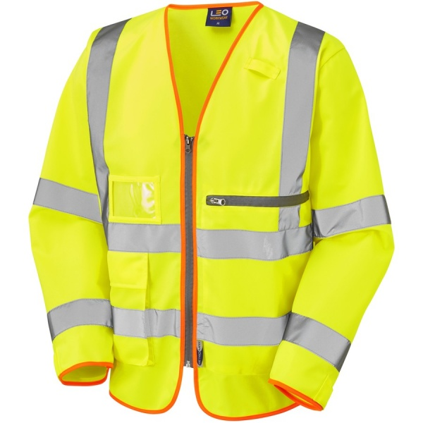 Leo Workwear S24-Y Heddon ISO 20471 Class 3 Superior Sleeved Vest with Tablet Pocket Yellow