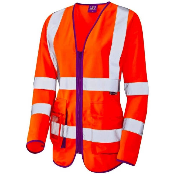 Leo Workwear SL12-O Beaworthy Ladies Long Sleeve Superior Hi Vis Vest Orange