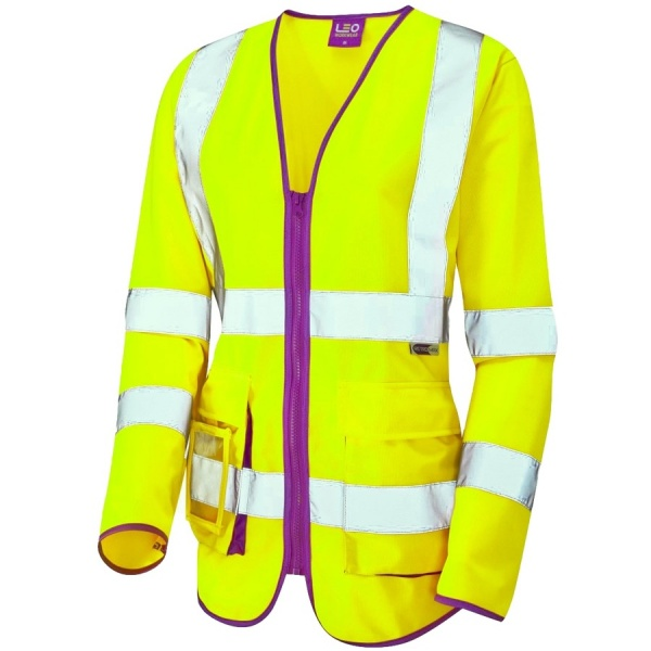 Leo Workwear SL12-Y Beaworthy Ladies Long Sleeve Superior Hi Vis Vest Yellow