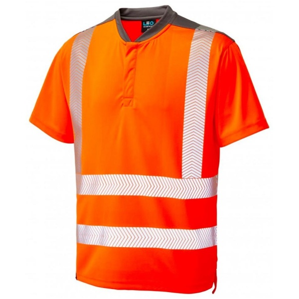 Leo Workwear T12-O Putsborough Performance Coolmax Hi Vis T-Shirt Orange