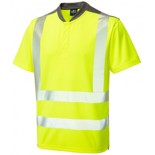 Leo Workwear T12-Y Putsborough Performance Coolmax Hi Vis T Shirt Yellow