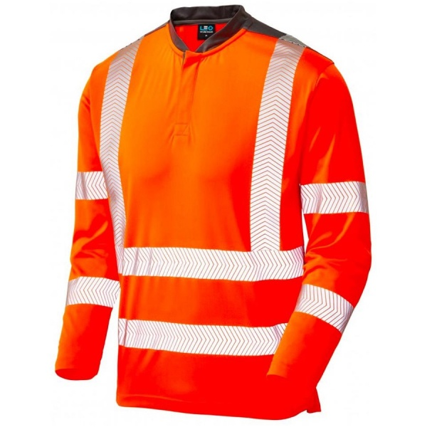Leo Workwear T13-O Watermouth Sleeved Performance Coolmax Hi Vis T-Shirt Orange