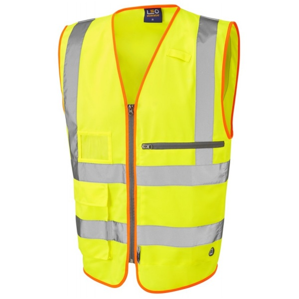 Leo Workwear W24-Y Foreland ISO 20471 Class 2 Superior Vest with Tablet Pocket Yellow