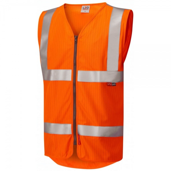 Leo Workwear W25-O Jacobstowe ISO 20471 Cl 2 LFS AS Waistcoat Zip EN 14116 EN 1149 Orange