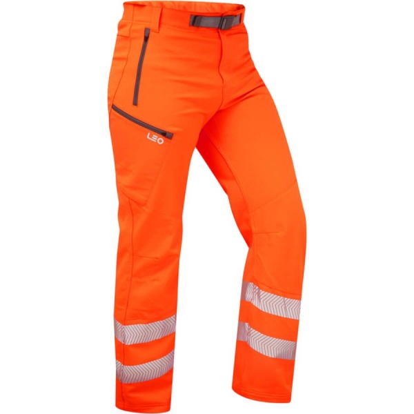 Leo Workwear WT01-O Landcross Stretch Work Hi Vis Trouser Orange