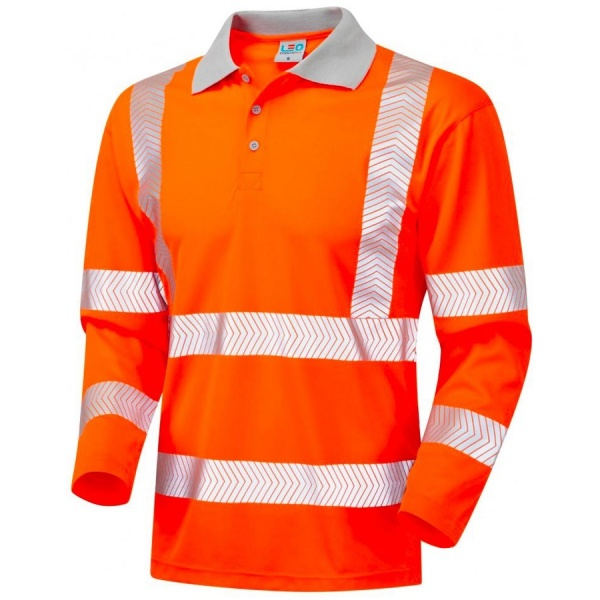 Leo Workwear P08-O Barricane Coolviz Plus Long Sleeve Hi Vis Polo Shirt Orange