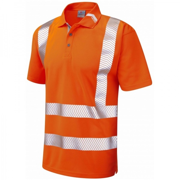 Leo Workwear P09-O Broadsands Coolviz Ultra Hi Vis Polo Shirt Orange