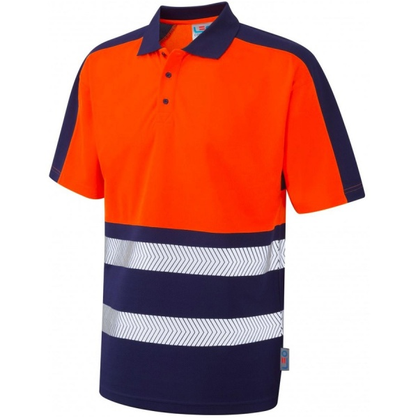 Leo Workwear P10-ONV Watersmeet Coolviz Plus Hi Vis Orange/Navy Polo Shirt