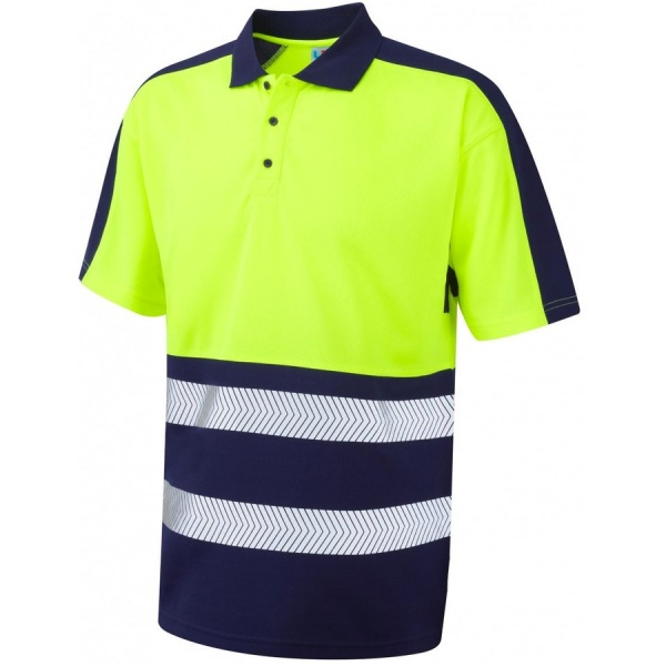 Leo Workwear P10-YNV Watersmeet Coolviz Plus Hi Vis Polo Shirt Yellow/Navy