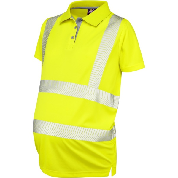 Leo Workwear PM03-Y Lovacott ISO 20471 Class 2 Maternity Coolviz Plus Hi Vis Polo Shirt Yellow