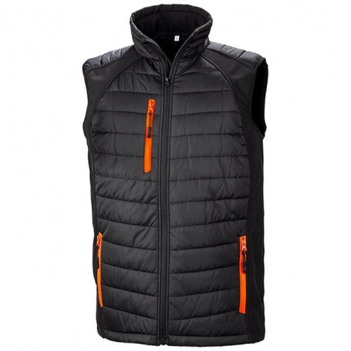 Result Clothing R238X Black Compass Padded Softshell Gilet