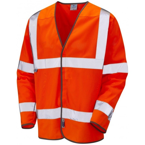 Leo Workwear S04-O Fremington Coolviz Hi Vis Ventilated Long Sleeve Vest Orange