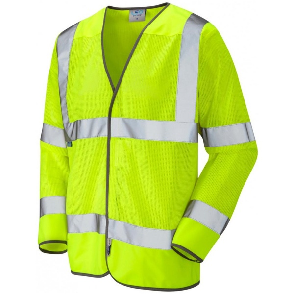 Leo Workwear S04-Y Fremington Coolviz Hi Vis Ventilated Long Sleeve Vest Waistcoat
