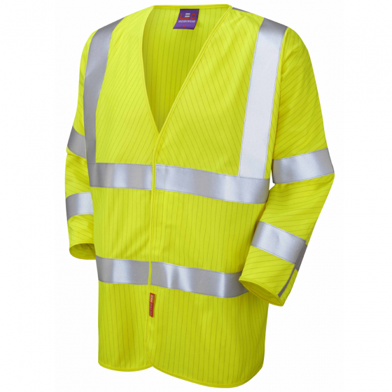 Leo Workwear S18-Y Sticklepath Class 3 LFS 3/4 Sleeved Zip Waistcoat Yellow