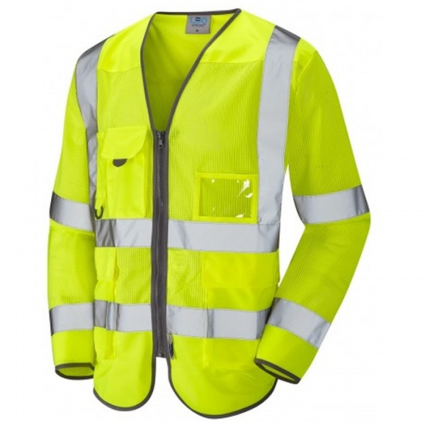 Leo Workwear S20-Y Burrington Hi Vis Class 3 Coolvis Long Sleeve Waistcoat Yellow