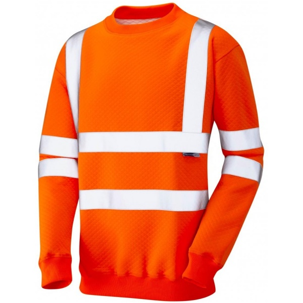 Leo Workwear Hi Vis Sweatshirt SS05-O Winkleigh Crew Neck Orange ISO 20471 Class 3